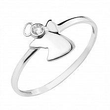 Золотое кольцо Маленький ангел в белом цвете с цирконием