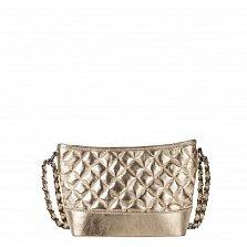 Кожаный клатч Genuine Leather 8816 розово-золотистого цвета с замком-молнией и плечевым ремнем