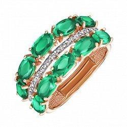 Кольцо из красного золота с агатом и фианитами 000127585