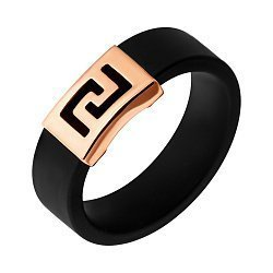 Кольцо Сутами из черного каучука с золотым элементом 000101834