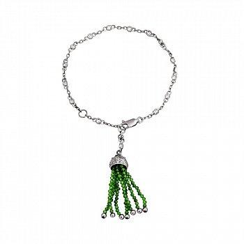 Серебряный браслет с фианитами и подвеской-кисточкой из зеленого оникса 000098752