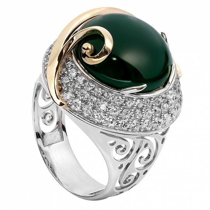 Серебряное кольцо с золотой вставкой и зеленым агатом Элвина 000030022