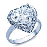 Серебряное кольцо с фианитами Зимнее сердце