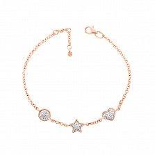 Золотой браслет Романтический вечер со звездой и сердечком в комбинированном цвете с бриллиантами