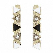 Золотые серьги Наоми с бриллиантами и эмалью