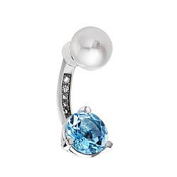 Серебряная серьга для пирсинга Летний бриз с жемчужиной и голубым топазом