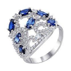 Серебряное кольцо с сапфирами и фианитами 000139199