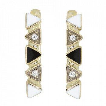 Золотые серьги с бриллиантами и эмалью 000040352
