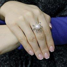 Серебряное кольцо Сюзанна с белым жемчугом