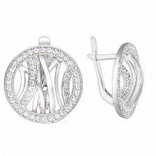 Серебряные серьги Эклектика с фианитами