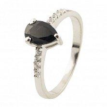 Серебряное кольцо Чарити с сапфиром и фианитами