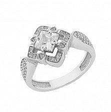 Серебряное родированное кольцо Карлайла с фианитами