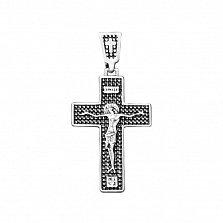 Серебряный крестик Распятие Спасителя с чернением