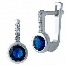 Серебряные серьги Гейл с синтезированным сапфиром и фианитами