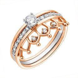 Кольцо-корона в комбинированном цвете золота с фианитами и родированием 000051669