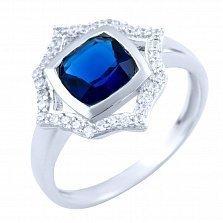 Серебряное кольцо Санджана с синтезированным сапфиром и фианитами
