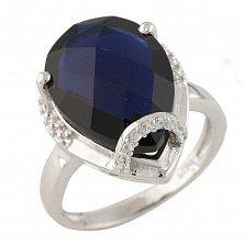 Серебряное кольцо Генриетта с синтезированным сапфиром и фианитами