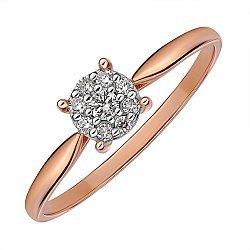 Кольцо помолвочное из золота комбинированного цвета с бриллиантами 000145448