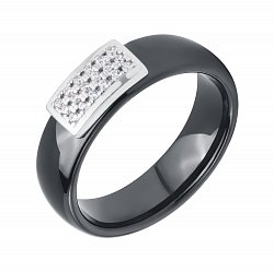Кольцо из черной керамики с серебряной накладкой в фианитах 000116830