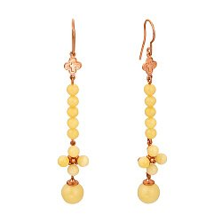 Серебряные серьги-подвески Даугава с позолотой и лимонным янтарем