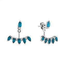 Серебряные серьги-джекеты с голубыми топазами и фианитами 000102347