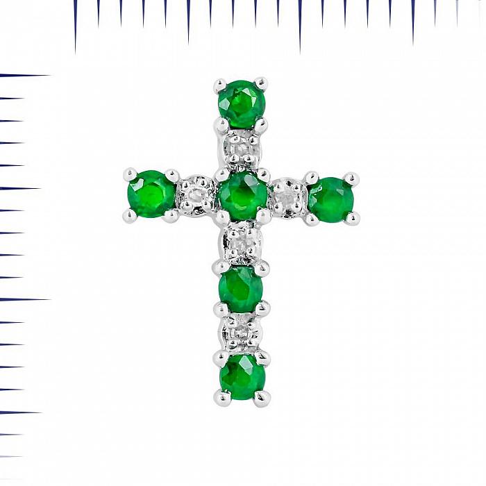 Крестик из белого золота Дариана с изумрудами и бриллиантами 000081051