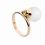 Золотое кольцо с подвеской с белым агатом Фатима