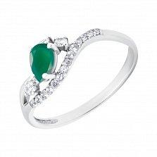 Серебряное кольцо Гилиам с изумрудом и дорожкой фианитов