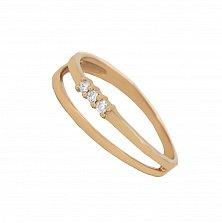 Золотое кольцо Диана в красном цвете с бриллиантами