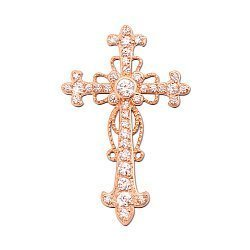 Крестик из красного золота с цирконием 000104033