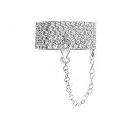 Серебряное кольцо с цепочкой Дайкири с фианитами