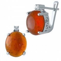Серебряные серьги с янтарем и фианитами 000128402
