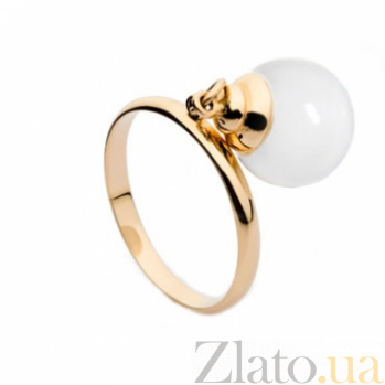 Золотое кольцо с подвеской с белым агатом Фатима 000030578