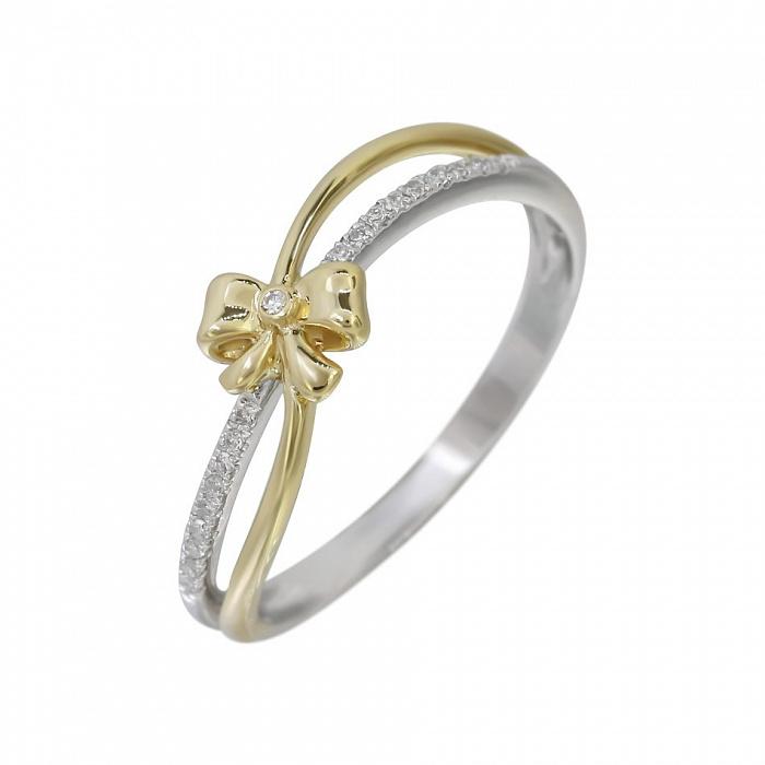 Кольцо из комбинированного золота Утонченность с бриллиантами 000080957