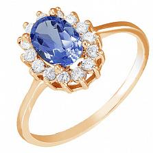 Золотое кольцо Синтия с иолитом и фианитами