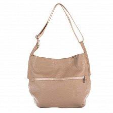 Кожаная сумка на каждый день Genuine Leather 8695 цвета теплый тауп на молнии с регулируемым ремнем