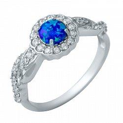 Серебряное кольцо с опалом и фианитами 000074721
