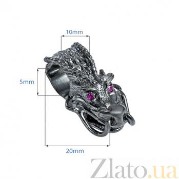 Серебряная бусина с фианитами Черный дракон 000027055