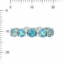 Серебряное кольцо Аэлита с голубыми топазами и кристаллами Swarovski