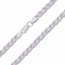 Серебряный браслет Мирена с розовым цирконием, 4,5мм