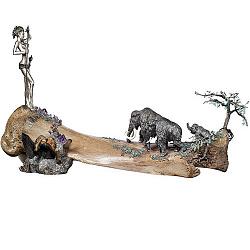 Серебряная композиция с изумрудами, аметистами, цветной эмалью и чернением 000004388
