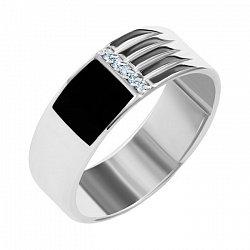 Серебряный перстень-печатка с рифленой шинкой, черной эмалью и дорожкой белых фианитов 000093488