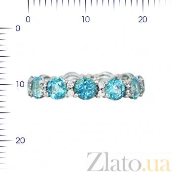 Серебряное кольцо Аэлита с голубыми топазами и кристаллами Swarovski 000081541