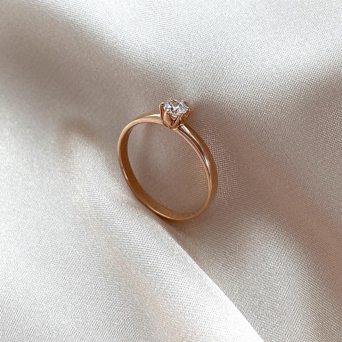 Кольцо в красном золоте с бриллиантом 0,25ct 000070540 000070540