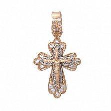 Золотой крестик с фианитами Спасение