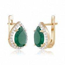 Золотые серьги Виктория с зеленым ониксом и фианитами