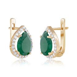 Золотые серьги с зеленым ониксом и фианитами 000036986