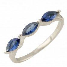 Серебряное кольцо Неилина с синтезированными сапфирами