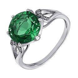 Серебряное кольцо с зеленым кварцем и фианитами 000015071