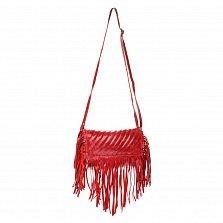 Кожаный клатч Genuine Leather 1301 красного цвета с бахромой и строчками